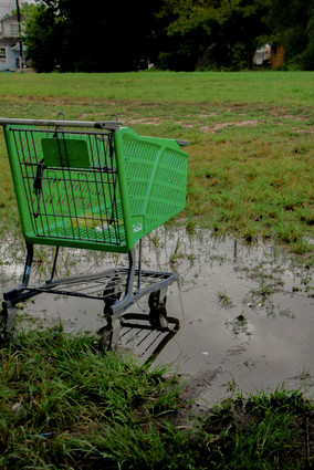 The shopping cart stuck in the mud represents the community's issues and highlights the bad water systems and the need for better roads, sidewalks for its people to walk on.