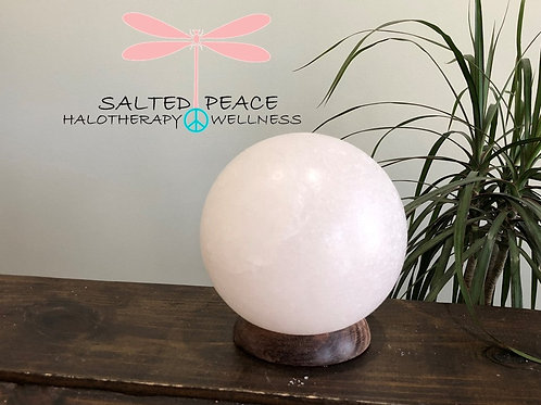 White Himalayan Salt Lamp Globe