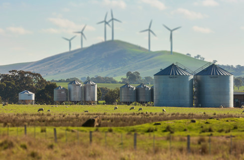 Wind Mills and Farm, country Victoria.jp