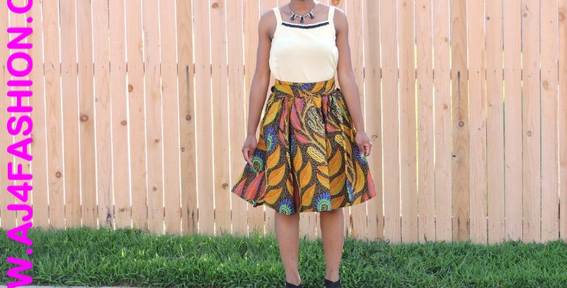 African Skirt with Elastic Waist - AJ4F204-7008