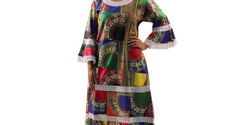 AJ4F363-WH808-Multi Color -African Print  Gown with Lace