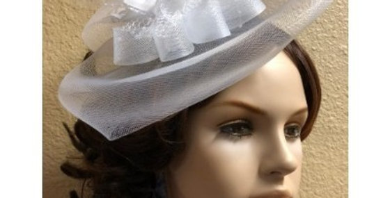 AJ4F341 Hat-White- Headpiece with Net