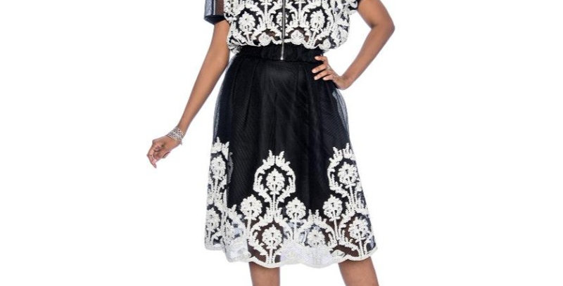 137984 - 2 Pcs Top & Skirt - Black/White