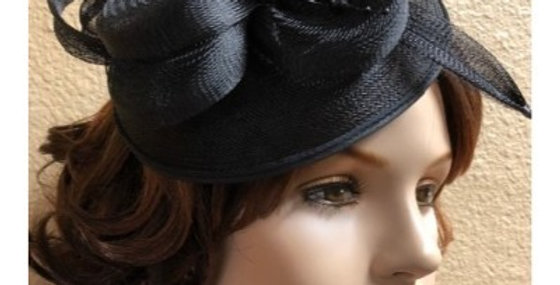 AJ4F340 Hat-Black- Headpiece with Net
