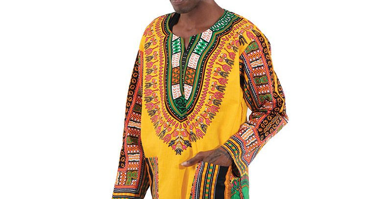 AJ4F55U940-Gold-Trad Dashiki Long Sleeves