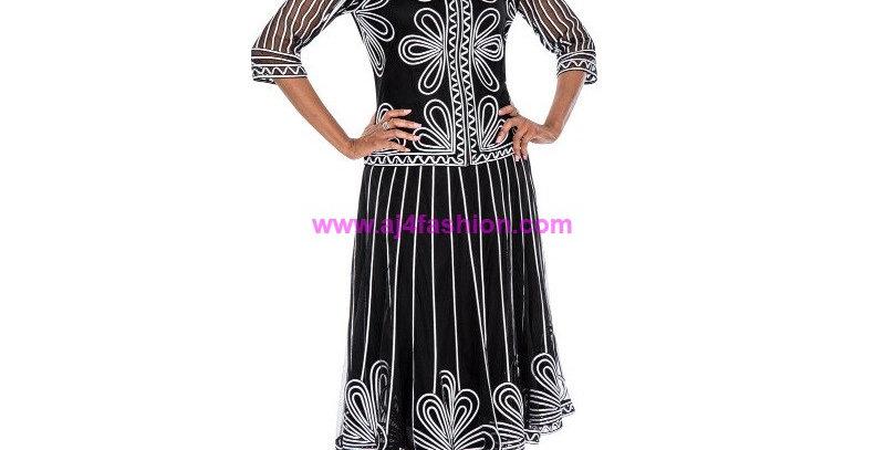 136834 - 2 Pcs Top & Skirt - Black/White