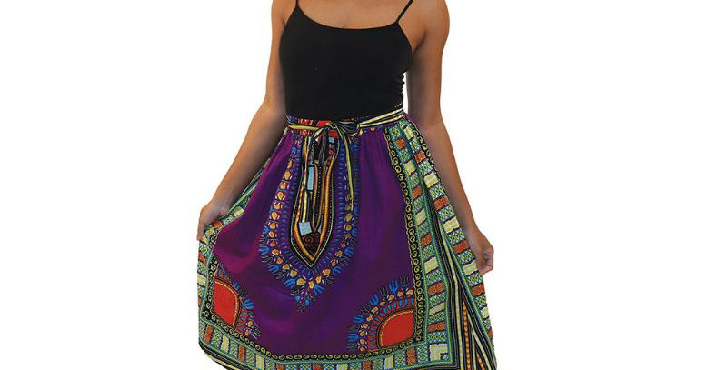 AJ4F369-WS932-Purple-Traditional Pleated Skirt