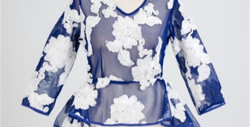 T1043 - Why dress top Mesh-Blue/White