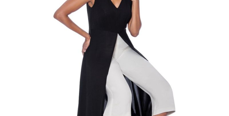 278184 - 1Pc Pant-Dress  - Black/White