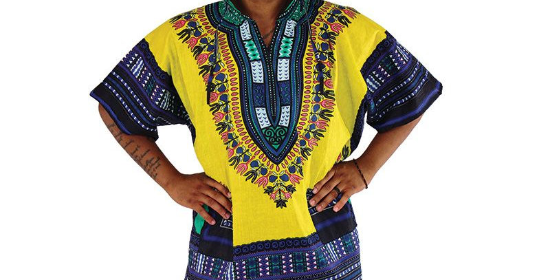AJ4F55U923-Yellow-Traditional Print Hoodie Dashiki