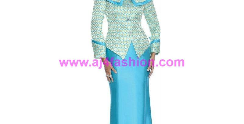 136204 - 2 Pcs Suit- Turquoise/Gold