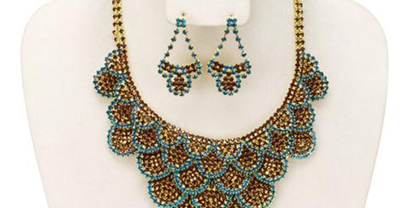 Jewerly Set-J206 - Teal/Bronz