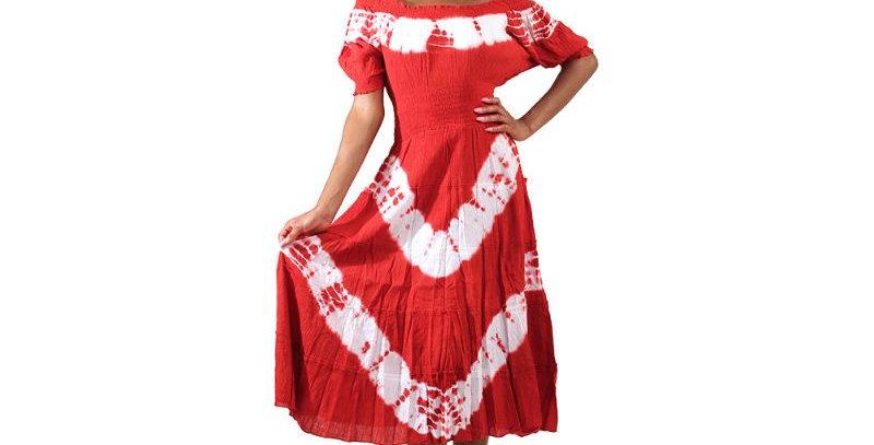 AJ4F366-W813-Red-Tie Dye Summer Days Dress Authentic African Print Dre