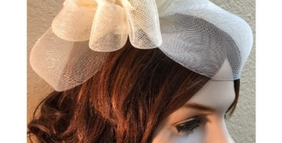 AJ4F342 Hat-Champagne- Headpiece with Net