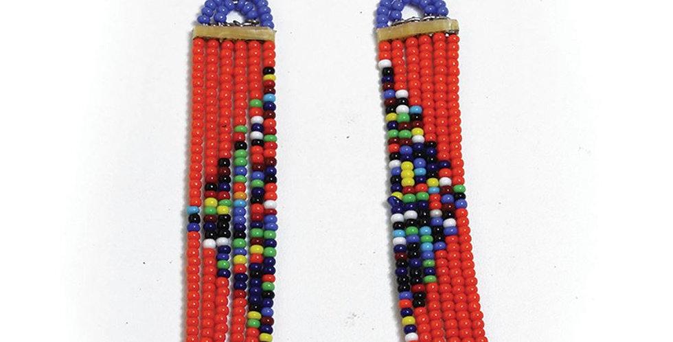 AJ4F328 Long Slim Earring Maasai JE612