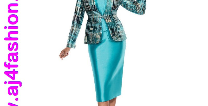 137384 -  3 Pcs Suit - Teal Multi