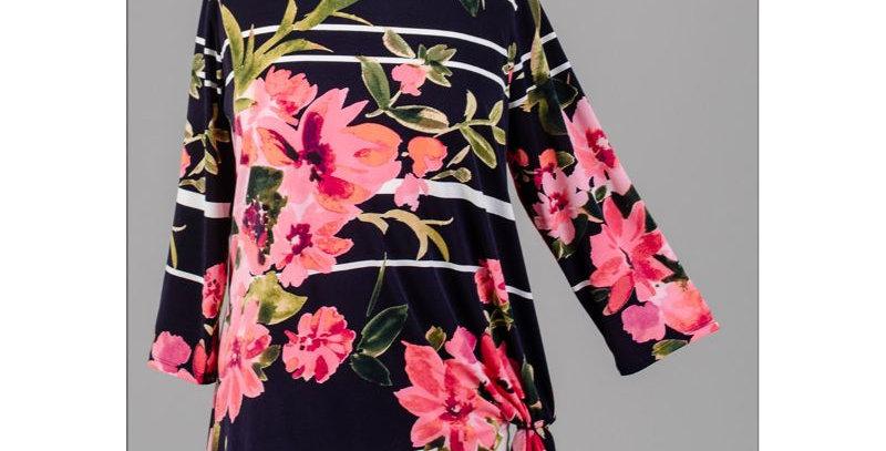 AJ4F355 - Floral Stripe Knot Top - Floral