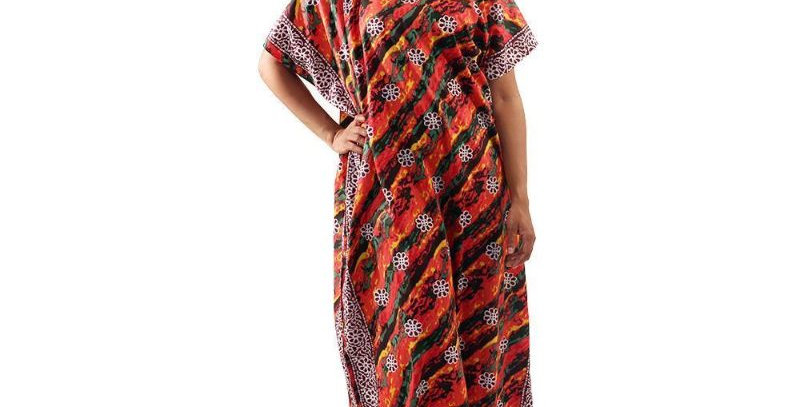 AJ4F367-WH511-Red-Paint Stripe Flower Kaftan