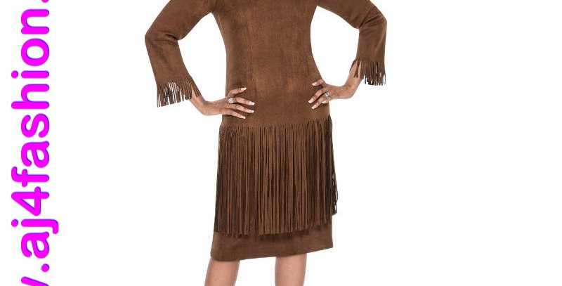 137404 - 1 Pc Dress - Brown (Suede)