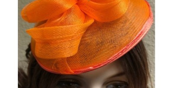AJ4F340 Hat-Orange- Headpiece with Net