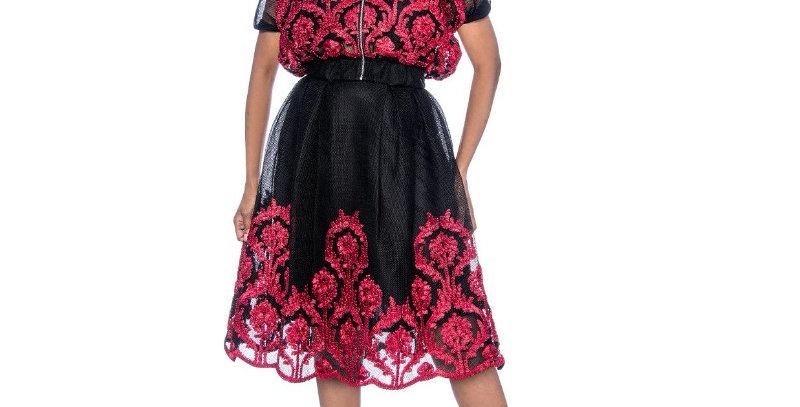 137984 - 2 Pcs -Top & Skirt - Black/Burgandy