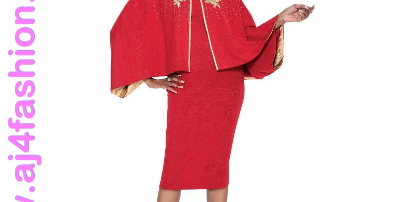 136664 -Dress & Jacket-Knit - Red/Gold (Knit)