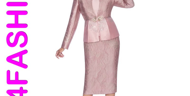 138584 - 3 Pcs Suit  Plus Hat- Dusty Rose