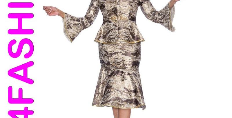 276924 - 2 Pcs Dress & Jacket - Brown Multi