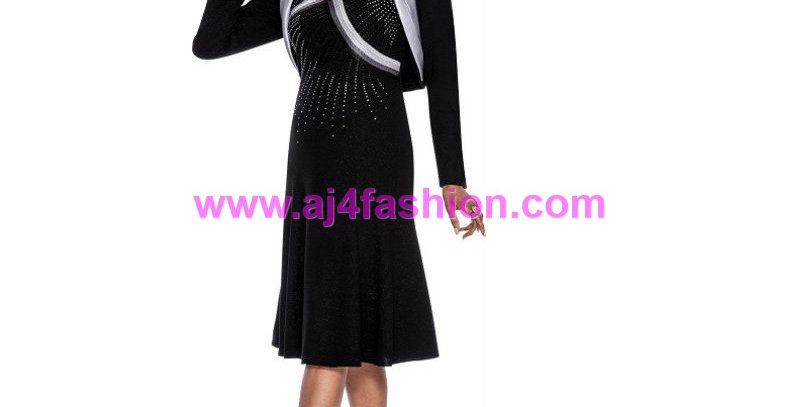 136684 - Dress & Jacket  Plus Hat - Black/Silver