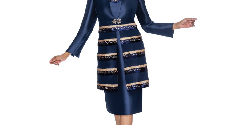 138784 -2 Pcs Dress & Jacket  Plus Hat -Navy