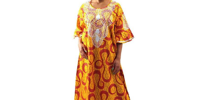 AJ4F361-WH806-Orange -African Print Gown
