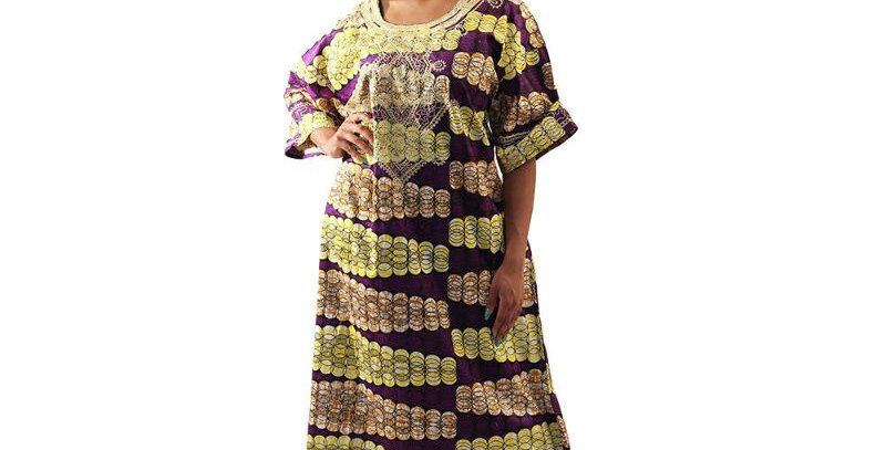 AJ4F362-WH807-Purple -Embroidered African Print Dress