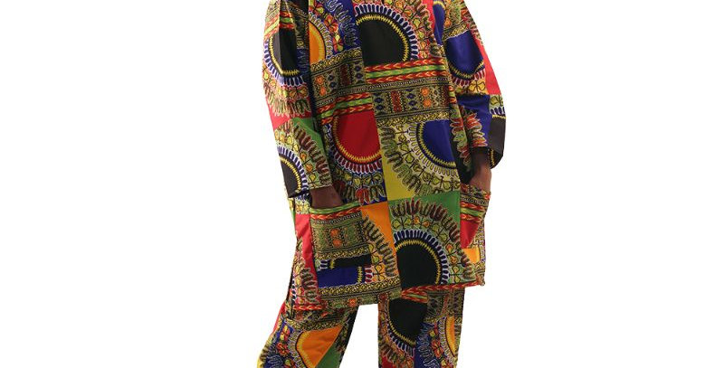 AJ4F358-WH522-2pc Pant Set-Patchwork