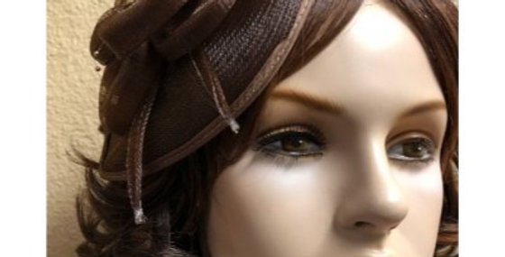 AJ4F340 Hat-Coffee- Headpiece with Net