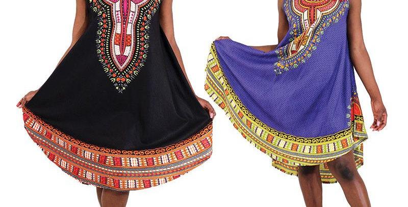 AJ4F357-WS920-Blue-Sun dress - Traditional Print