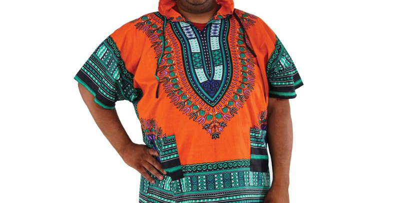 AJ4F55U923-Orange-Traditional Print Hoodie Dashiki
