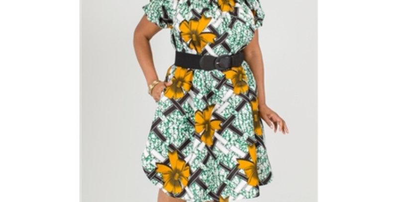 AJ4F348-NF7043- Authentic African Print Dress-Multi