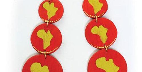 AJ4F324 Red Wooden Africa Map Earrings JE608