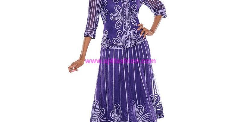 136834 - 2 Pcs Top & Skirt - Purple
