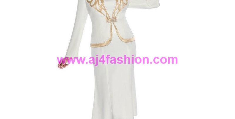 136504 - 3Pcs Suit - Ivory/Gold