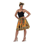 AJ4F296 7003 dashiki skirt 24 Burg-Green