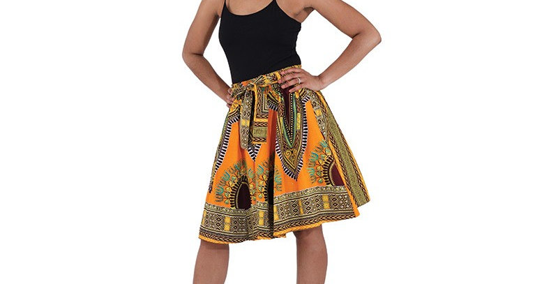 African Skirt with Elastic Waist - AJ4F296-7003-Burgandy/Green