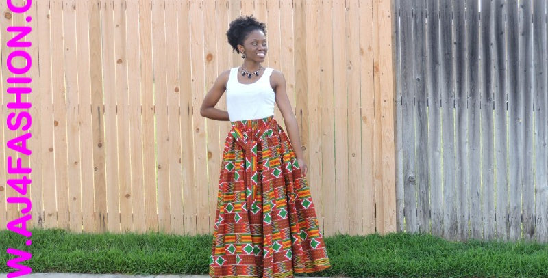 African Skirt Elastic Waist - AJ4F255-7001