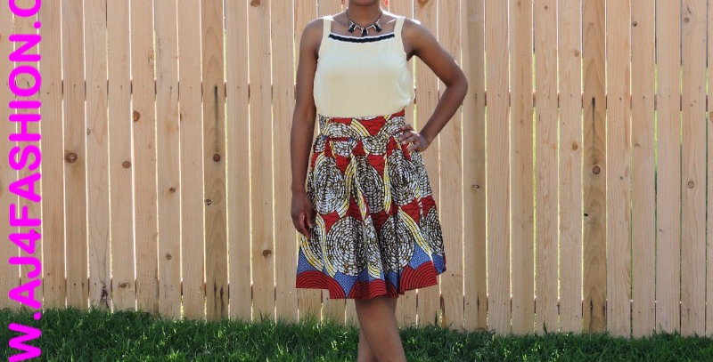 African Skirt with Elastic Waist - AJ4F299-7012