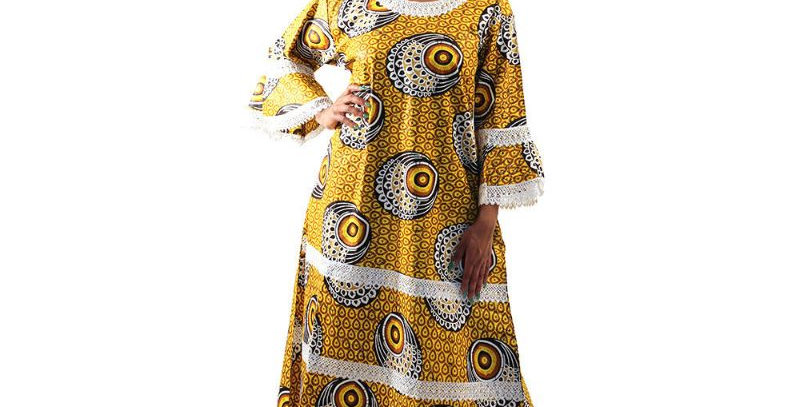 AJ4F364-WH808-Yellow -African Print  Gown