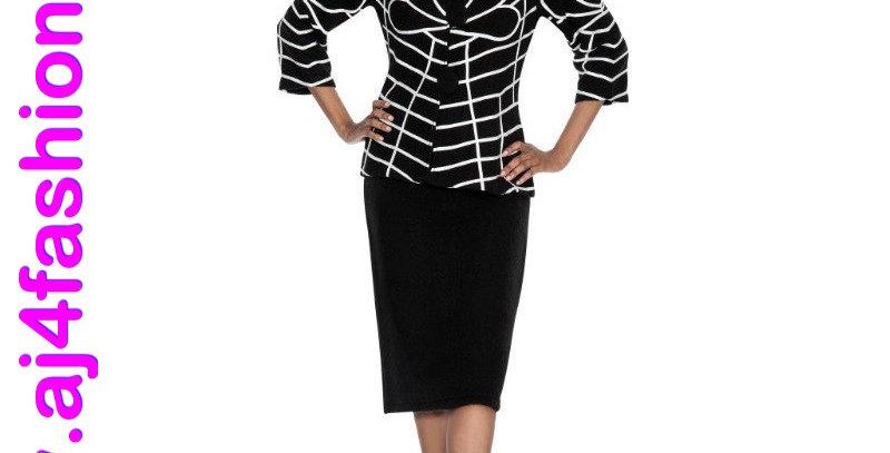 137564 - 2 Pcs Dress & Jacket-Black/White