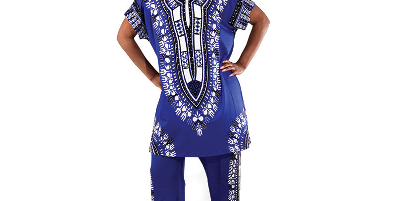 AJ4F326 -Blue-Traditional Print Pant Set CWS834