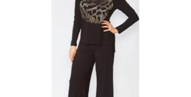 Lily & Taylor 3501 Beaded Pant Suit - Black