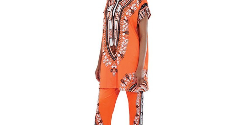 AJ4F326 -Orange-Plus sizes-Traditional Print Pant Set CWS834