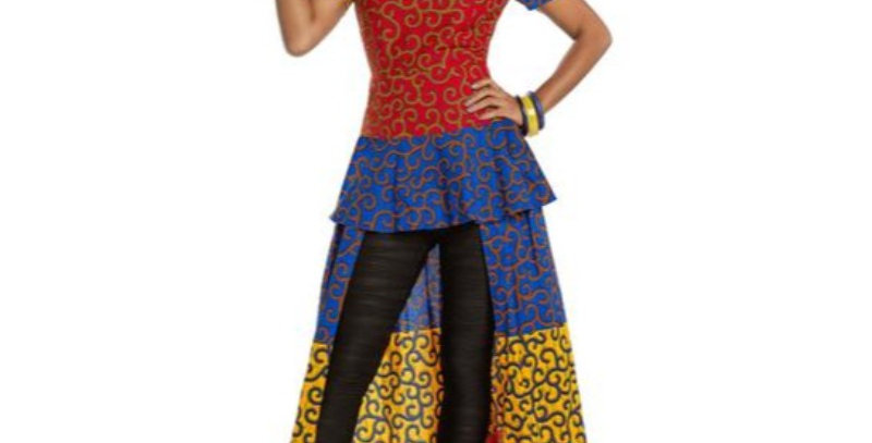 AJ4F334- 1 Pc Dress Love the Queen 17207-Red/Royal/Yellow